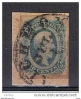 U.S.A. -  EMISSIONI  GENERALI:  1862/64  J. DAVIS  -  10 C. VERDE  BLU  SU  FRAMMENTINO  -  YV/TELL. 10 A - Used Stamps