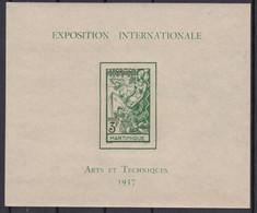 MARTINIQUE : 1937 BLOC FEUILLET N° 1 NEUF ** GOMME SANS CHARNIERE - Blocks & Kleinbögen