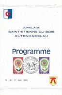 AIN 01 - SAINT ETIENNE DU BOIS - CACHET JUMELAGE  EUROPEEN ATTENHASSLAU  1965 - S/DOC. PROGRAMME MANIFESTATION - Gedenkstempels