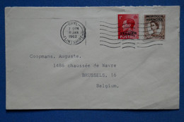 AD11 MAROC ANGLAIS   BELLE LETTRE  1962  PETIT BUREAU THYL POUR  BRUSSELS BELGIQUE + SURCHARGE  + AFFRANCH. PLAISANT - Morocco Agencies / Tangier (...-1958)