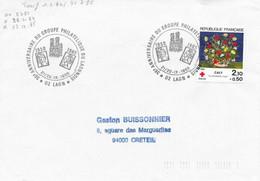 AISNE 02 - LAON -  35e ANNIV. GROUPE PHILATELIQUE DU LAONNOIS-  1985 - TIMBRE N° 2351 CROIX ROUGE - SEUL SUR LETTRE - Gedenkstempels