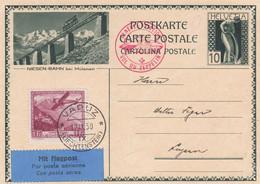 Suisse - Entiers Postaux - Illustré Niesen-Bahn- Zeppelin, Vol De Vaduz (Liechtenstein) Vers Luzern - Enteros Postales