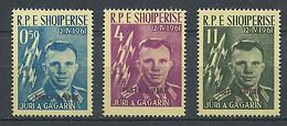 255 ALBANIE 1962 - Yvert A 57A, A 58B, A 59A  Surcharge - Espace Gagarine - Neuf ** (MNH) Sans Trace De Charniere - Albania