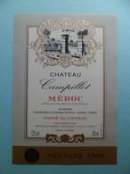 Etiquette Vin Récolte 1996 Chateau Campillot MEDOC - Mr SEGUIN à St. Germain D' ESTEUIL - Gironde - Bordeaux