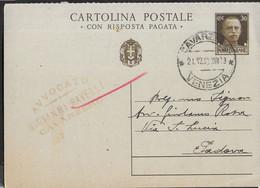 """STORIA POSTALE REGNO - ANNULLO DCG"""" CAVARZERE*21.12.38*VENEZIA"""" SU CARTOLINA POSTALE IMPERIALE (DOMANDA) PER PADOVA - Marcophilia"""