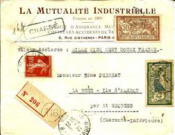 """Lettre CHARGE Avec """"Merson"""" Pour LA BREE  ILE D'OLERON - 1921 - - Covers & Documents"""