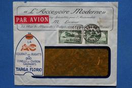 AD11 MAROC  BELLE LETTRE FENETRE  PUB  1931  PAR AVION CASABLANCA  POUR .... + AFFRANCH. INTERESSANT - Airmail