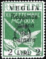 Veglia - 242 Reggenza Italiana Del Carnero Con Soprastampa L. 2 Su 5 C. Verde Caratteri Piccoli Nonché L'emblema Della R - Arbe & Veglia