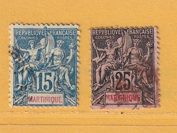 Timbre Martinique N° 36 - 38 - Gebraucht