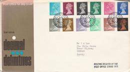 GB LETTRE FDC 1971 TYPE MACHIN - 1952-1971 Pre-Decimal Issues
