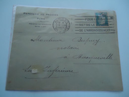 FRANCE COVER   1927 PAIS  R.P AND SLOGAN - Unclassified