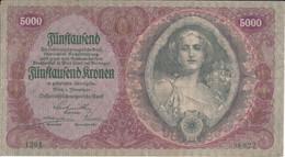 BILLETE DE AUSTRIA DE 5000 KRONEN DEL AÑO 1922  (BANK NOTE) (RARO) - Austria