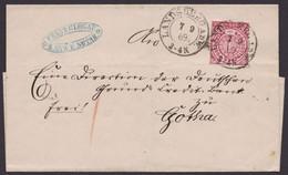 """16, EF, K2 """"Landsberg A.d.W."""", 1869, Nach Gotha, Taxis-K1 Als Ankunft - Norddeutscher Postbezirk"""