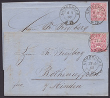 """16, 2x EF, Je Nachverw. Preuß. K2 """"Gütersloh"""", 1869 - Norddeutscher Postbezirk"""