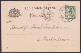 """Kipfenberg-Eichstätt"", Bahnpost-K1, 1900, Bedarfs-GS, Leider Senkr. Mittelbug - Bavaria"