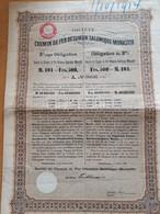 """SOCIETE DU CHEMIN DE FER OTTOMAN SALONIQUE-MONASTIR OBLIGATION """"A"""" 3% 500 FRANCS DE 1893 N° 08036 CPS 1915/1923 ATTACHES - Ferrovie & Tranvie"""