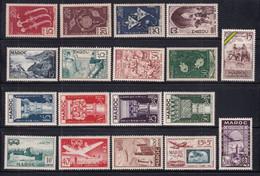 1952/1953 - MAROC - ANNEES COMPLETES Avec POSTE AERIENNE - YVERT N°315/326 + PA 84/93 ** MNH - COTE 2022 = 74 EUR. - Unused Stamps
