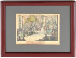 Cca 1800-1850: Napóleon Koronázása (Krönung Napoleons). Színezett Metszet, Papír, Jelzés Nélkül, üvegezett Fa Keretben,  - Gravuren