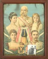 Cca 1890 A Habsburg Császári-királyi Család Erzsébettel (Sisi), Ferenc Józseffel Stb., Kromolitográfia, Papír, üvegezett - Gravuren