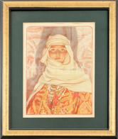Louis-Auguste Girardot (1856-1933): Keleti Szépség (Femme Du Riff). Színes Litográfia, Papír, Jelzett A Litográfián, üve - Gravuren