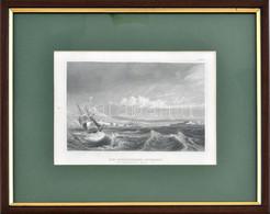 Cca 1850-60: Die-Dardanellen-Einfahrt (Dardanellák Bejárata), Acélmetszet, Papír, Jelzés Nélkül, üvegezett Fa Keretben,  - Gravuren