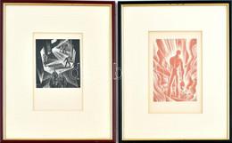 Lynd Ward: Wild Pilgrimage (1932) C. Könyvéből 2 Db Fametszetű Illusztráció, Jelzés Nélkül, 16,5x11 és 12,5x11 Cm, Plexi - Gravuren