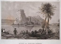 Cca 1850 Dévény Várának Romjai, Ruine Von Schloss Von Theben, Acélmetszet, Hildburghausen, Kunstanstalt Des Bibliographi - Gravuren