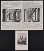 1858, 1861 L. Rohbock: A Fóti Szentegyház, Vasárnapi újság. Acélmetszet. A Fóti Templom Belseje. Fametszet - Gravuren
