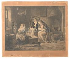 C Becker Jelzéssel: Jósasszony, 1851. Rézmetszet, Papír, Kartonra Kasírozva. Jelzett A Metszeten. Sérült. 38,5x51,5 Cm - Gravuren