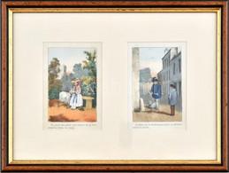 XIX. Sz. Francia Metszet, Kézzel Színezett, üvegezett Fa Keretben, 2x9x6 Cm - Gravuren