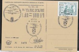 """ANNULLO SPECIALE """"PISA C.P. *9.9.1990* 50° ANNIVERSARIO FONDAZIONE 46^ BRIGATA AEREA"""" SU CARTOLINA A TIRATURA LIMITATA - 1981-90: Storia Postale"""