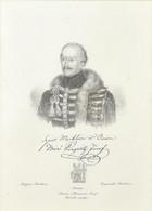 Cca 1840 Báró Szentmiklósi és óvári Pongrátz (Pongrácz) József Mellképe (Magyar Pantheon). Litográfia, Papír. Jelzés Nél - Gravuren