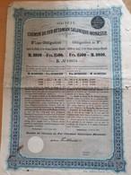 """SOCIETE DU CHEMIN DE FER OTTOMAN SALONIQUE-MONASTIR OBLIGATION """"B"""" 3% 2500 FRANCS DE 1893 N° 24676 CPS ATTACHES - Ferrovie & Tranvie"""