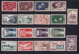 1952/1953 - MAROC - ANNEES COMPLETES Avec POSTE AERIENNE - YVERT N°315/326 + PA 84/93 * MLH - COTE 2022 = 59 EUR. - Unused Stamps