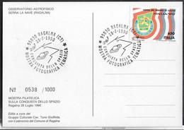 """ANNULLO SPECIALE """"RAGALNA (CT)*28.7.1990* CONQUISTA DELLO SPAZIO - MOSTRA FOTOGRAFICA TEMATICA"""" SU CARTOLINA UFFICIALE - 1981-90: Storia Postale"""