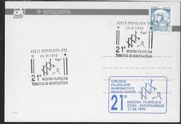 """ANNULLO SPECIALE """"MODIGLIANA (FO)*11.8.1990* 21^ MOSTRA FILATELICA TEMATICA DI AEROFILATELIA"""" SU CARTOLINA - 1981-90: Storia Postale"""