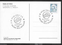 """ANNULLO SPECIALE """"FORLI' C.P.*12.7.1990* 5° SALONE DELL'AVIAZIONE"""" - SU CARTOLINA UFFICIALE MANIFESTAZIONE - 1981-90: Storia Postale"""
