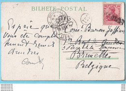 CP CINTRA PORTUGAL TP Germania Griffe PAQUEBOT  Obl LISBOA 14 IV 1910  Vers Bruxelles - 1923-44: Covers