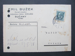 BRIEF Bahnpost Zugstempel Sucany Turiec Kosice -Orlova   //  C5393 - Covers & Documents