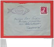 LEOPOLD III Obl FRAMERIES 13 III 1952 Sur L Pub POISSONNERIE Aux Fins Gourmets  à Frameries - Brieven En Documenten