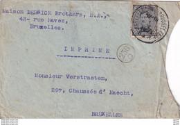 TP 183  Albert 1er Sur Petite Lettre Pour Imprimé  Au Tarif De 3 C Obl Bruxelles 1 V 1923 - Covers & Documents