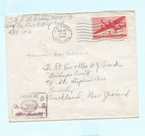 Lettre Censurée USA 1943 APO 502 (Nouvelle-Caledonie) Pour La Nouvelle-Zélande - Covers & Documents
