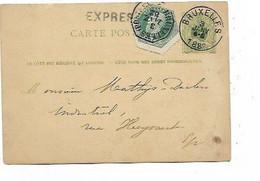 SH 1086. EP 13 Obl. BRUXELLES  3 JANV 1882 + T. TG 4 Obl. TELEGRAPHIQUE BRUXELLES (POSTES) 3 JANV 82 En EXPRES V. ANDERL - Postkaarten [1871-09]
