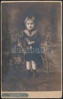 Cca 1915 Kislány Macival, Keményhátú Fotó Krausz Gyula Dévai Műterméből, 16,5×10,5 Cm - Non Classés