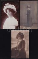 Cca 1910 Kalapos Hölgyek, 3 Db Fotó, 13×8 Cm - Non Classés