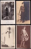 Cca 1920-1940 4 Db Hölgyeket ábrázoló Régi Fotólap, Közte Feliratozottak, 14x9 Cm - Non Classés