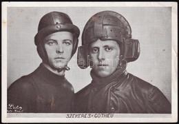 Cca 1930-1940 Szekeres és Gothieu Motorkerékpár-versenyzők, Feliratozott Fotó, L'art Foto Bp., Kissé Foltos, 13,5x9 Cm / - Non Classés