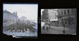 Cca 1933 Budapest, A 22-es és A 6-os Villamos Forgalmi Szituban, 2 Db Vintage NEGATÍV, 6x6 Cm (a Sarka Kissé Hiányos) és - Non Classés