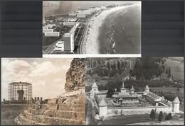 Vegyes Külföldi Képek: Vár, Romok, Tengerpart, 3 Db Fotó, 23x16 Cm - Non Classés