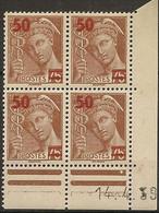 CD 477 France  Bloc De 4 Coins Datés 14/4/39  Type MERCURE - 1930-1939